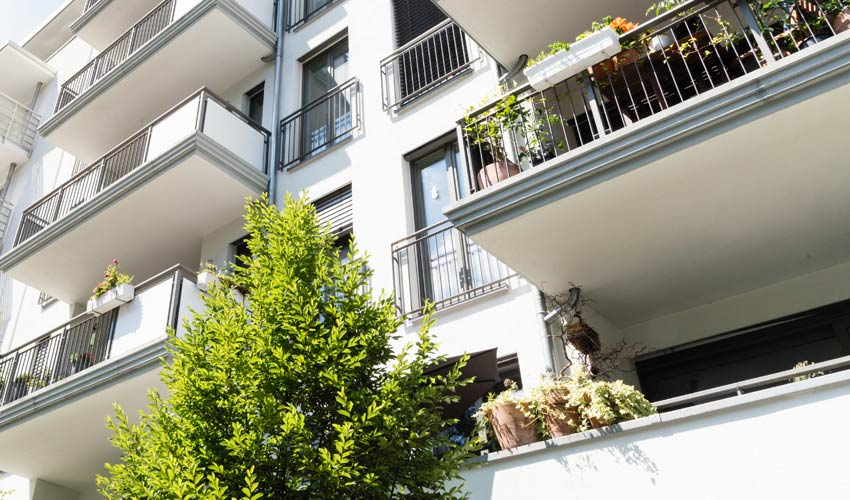 view of balconies at an apartment building in California