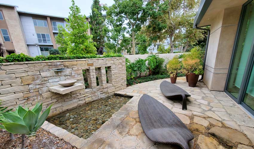 close-up of completed landscaping at new construction residential community