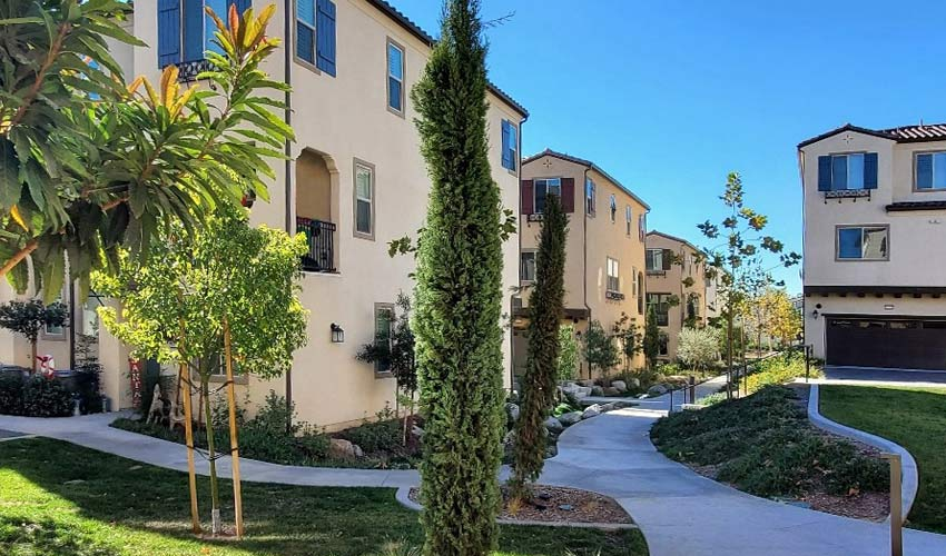 wide view of completed new construction residential community