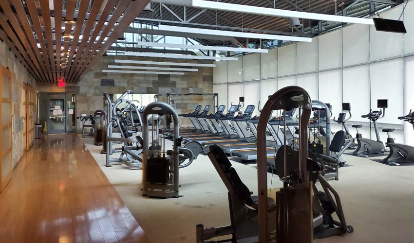wide view of completed gym at new residential community
