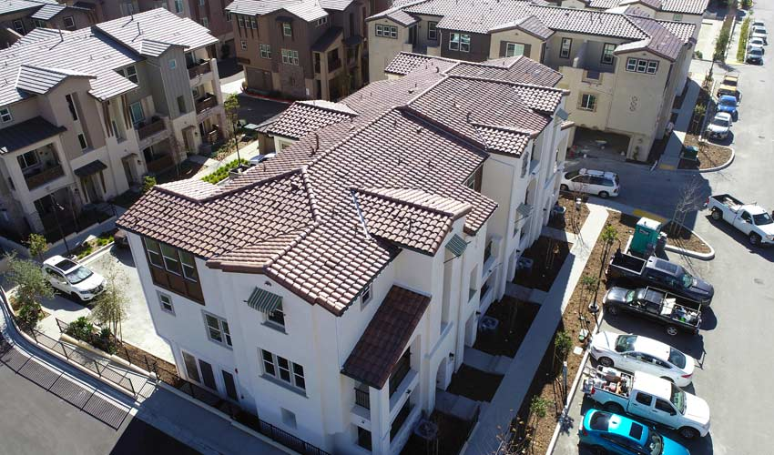 aerial view of completed new construction residential community