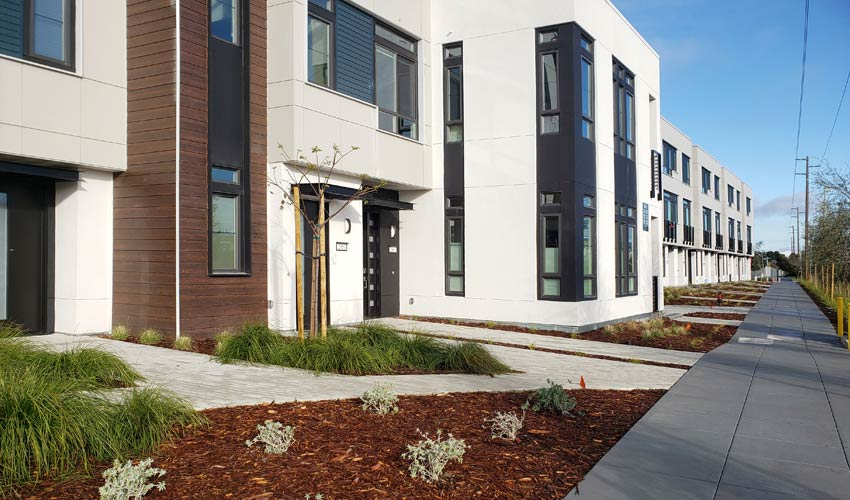 new construction residential building with new landscaping at perimeter