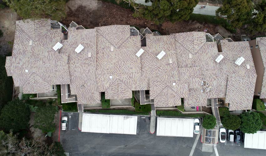 aerial view of rooftop