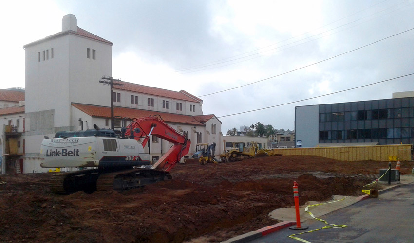 construction site near existing buildings