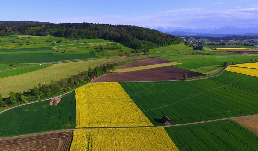 wide aerial view of farmland and nearby hillsides