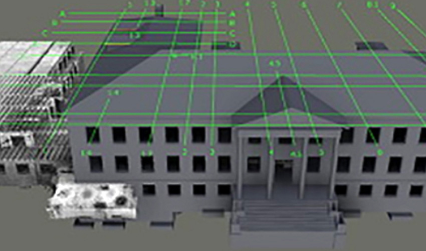rendering of building showing point clouds generated by data collected by drone
