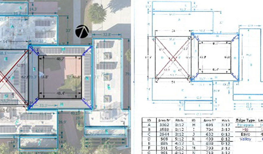bird's eye view of building complex overlayed with measurements generated by drone data collection